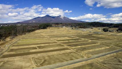 空撮 八ヶ岳と田