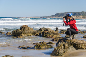 Photographer take a picture of wave on the Mediterranean Sea. Cyprus