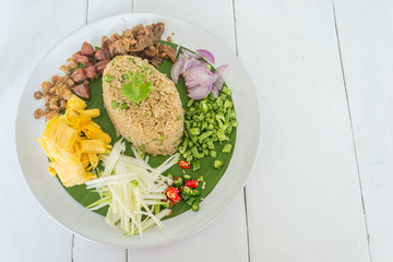 Rice Mixed with Shrimp paste , Thai food
