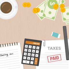 Tax payment and money management concept design, Flat design vector illustration.