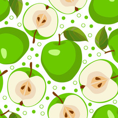 Green apples . Vector seamless background  with apples.