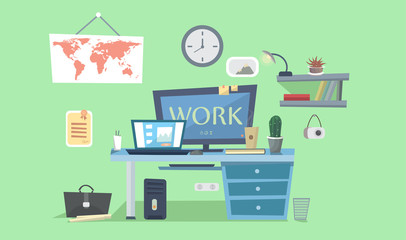 Work place. Designer work space, desk with computer, lamp, books, photo frames. Vector background