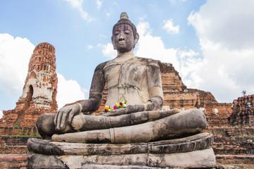 Big buddha statue at Wat Mahathat temple, Ayutthaya, Thailand