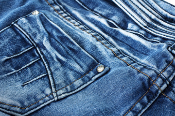 new blue jeans handmade close up