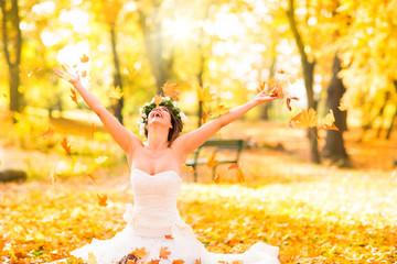 Braut im Herbst