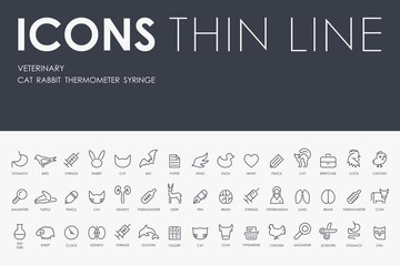 veterinary Thin Line Icons