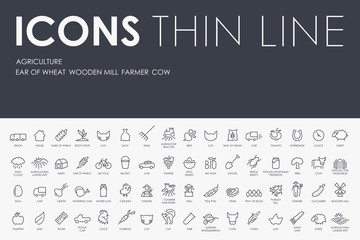 agriculture Thin Line Icons
