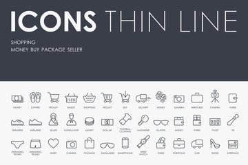 shopping Thin Line Icons