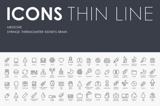 medicine Thin Line Icons