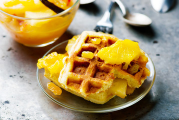 waffle with  apples and fruit