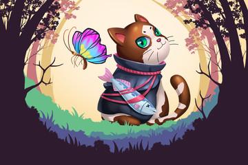 Creative Illustration and Innovative Art: Cat Hero Start Adventure! Realistic Fantastic Cartoon Style Artwork Scene, Wallpaper, Story Background, Card Design