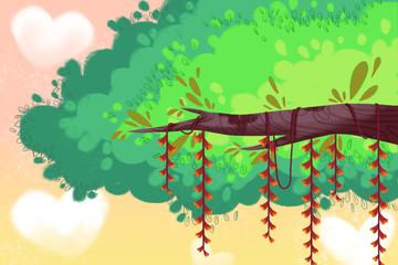 Creative Illustration and Innovative Art: Happy Tree Background. Realistic Fantastic Cartoon Style Artwork Scene, Wallpaper, Story Background, Card Design