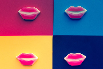 funny candy mouth edible on multicolored background, filtered with vintage and pop colors