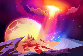 Illustration: The Magnificent Cosmos Wonders on a Alien Planet. Story with Fantastic Cartoon Style Scene Wallpaper Background Design.