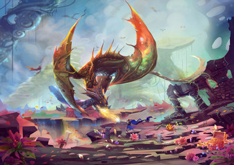 Creative Illustration and Innovative Art: Knight fights with Dragon in Treasure Land. Realistic Fantastic Cartoon Style Artwork Scene, Wallpaper, Story Background, Card Design