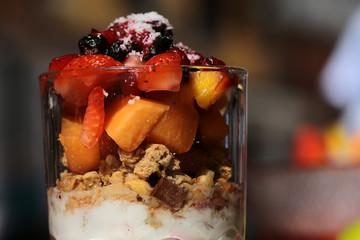 Chopped fruit salad with yogurt