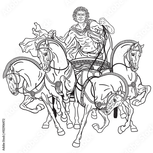 charioteer in a roman quadriga chariot pulled by four horses ...
