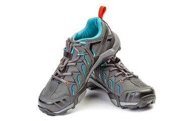 New pair of sport shoe for mountain cycling.