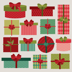 Cute gift boxes, presents for Christmas.Vector set