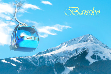 Vibrant Bansko travel ski resort background with cable car cabin, ski area, snow mountain peak, cloudy blue sky, Bulgaria
