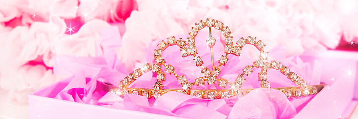 Shiny tiara on a pink background