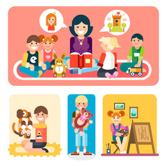 Happy people in the kindergarten. Happy children studying with a wise teacher. Boy playing with dog, girl making a beautiful painting. Flat vector illustration set.