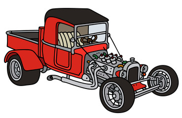 Red hot rod / Hand drawing, vector illustration