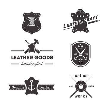 Set of vintage tailor, sewing labels, leather goods designed elements