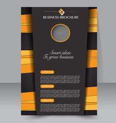 Abstract flyer design background. Brochure template. Can be used for magazine cover, business mockup, education, presentation, report. Black and orange color.