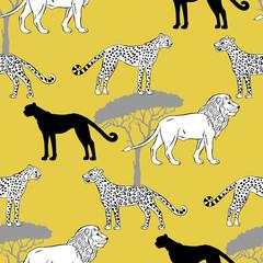 Seamless pattern with savanna animals