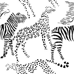 Seamless pattern savanna animals