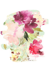Flowers watercolor illustration. Manual composition. Mother's Day, wedding, birthday, Easter, Valentine's Day. Pastel colors. Spring. Summer.