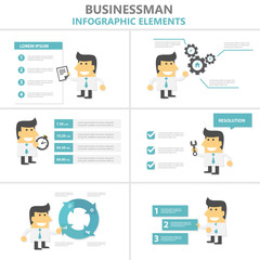 Buinessman Infographic elements presentation templates flat design set for brochure flyer leaflet marketing advertising