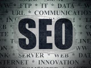 Web design concept: SEO on Digital Paper background