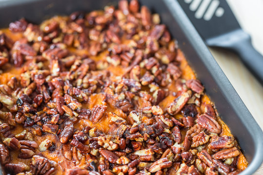 Homemade Mashed Sweet Potato Casserole with Caramelized Pecans for Thanksgiving Day