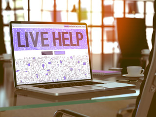 Live Help Concept. Closeup Landing Page on Laptop Screen in Doodle Design Style. On Background of Comfortable Working Place in Modern Office. Blurred, Toned Image. 3D Render.