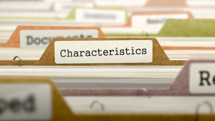 Characteristics Concept. Colored Document Folders Sorted for Catalog. Closeup View. Selective Focus. 3D Render.