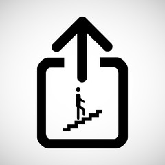Man on Stairs going up symbol isolated on white Vector EPS10, Great for any use.