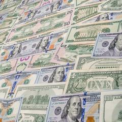 several dollar bills
