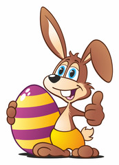Brown Easter Bunny with colored Egg