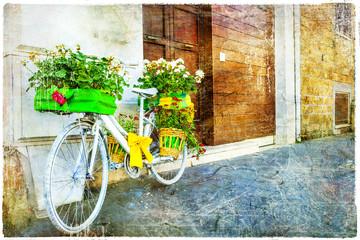 vintage floral bike - charming street decoration