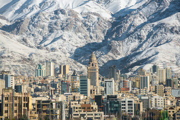 Winter Tehran  view with a snow covered Alborz Mountains on back