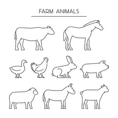 Vector line set of farm animals. Silhouettes animals isolated on