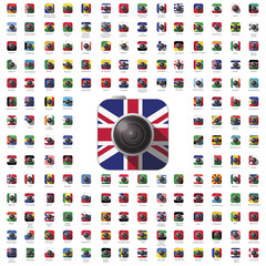 icon camera world flag travel vector color lens