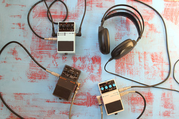 Guitar pedal and headset