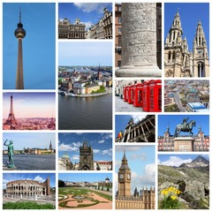 Europe travel collage