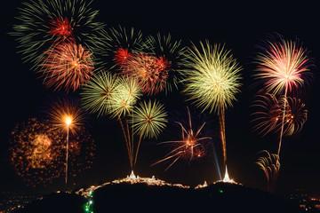 Fireworks show over Phra Nakhon Khiri (Khao Wang), Petchaburi, Thailand.