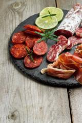 Traditional spanish tapas or italian antipasti