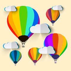 Hot Air Balloons with Paper Clouds