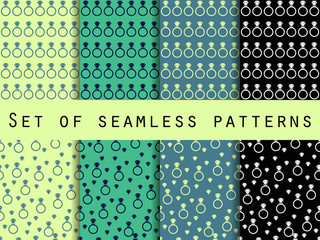 Diamond jewelry. Set of seamless patterns with diamonds and rings. The faceted diamond. The pattern for wallpaper, bed linen, tiles, fabrics, backgrounds. Vector illustration